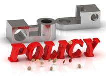 POLICY- inscription of red letters and silver details Royalty Free Stock Photo