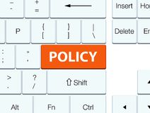 Policy orange keyboard button. Policy isolated on orange keyboard button abstract illustration Royalty Free Stock Photography