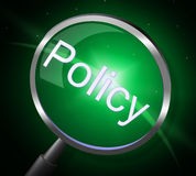 Policy Magnifier Shows Contract Rules And Legal Stock Images
