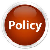 Policy premium brown round button. Policy isolated on premium brown round button abstract illustration Stock Photography