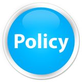 Policy premium cyan blue round button. Policy isolated on premium cyan blue round button abstract illustration Royalty Free Stock Photography