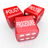 Policy Process Procedure 3 Red Dice Company Rules Practices Royalty Free Stock Photo