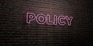 POLICY -Realistic Neon Sign on Brick Wall background - 3D rendered royalty free stock image Royalty Free Stock Image