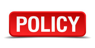 Policy red 3d square button Stock Photo