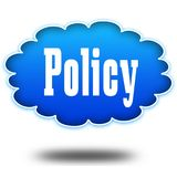 POLICY text message on hovering blue cloud. Stock Photos