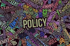 Policy, for texture or background. Policy, business word cloud, abstract embossed, for web page, graphic design, catalog, textile or texture printing & Royalty Free Stock Images