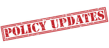 Policy updates red stamp Royalty Free Stock Photo