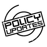 Policy Updates rubber stamp. Grunge design with dust scratches. Effects can be easily removed for a clean, crisp look. Color is easily changed Royalty Free Stock Photos
