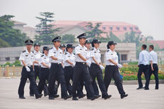 Poliece marching on Tiananmen Square, Beijing, China Royalty Free Stock Photography