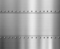 Poliermetallhintergrund mit Nieten Stockfoto