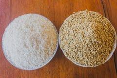 Poliert und Paddy oder ungeschälter Reis im Abschluss mit zwei Platten oben auf hölzernem stockbild