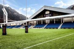 Poliesportiu Andorra, arena ostentando situada em velinos do la de Andorra, Andorra fotos de stock royalty free