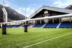 Poliesportiu Andorra, sporting arena located in Andorra la Vella, Andorra. Poliesportiu dAndorra, also known as Poliesportiu de Govern, is an sporting arena Royalty Free Stock Photos