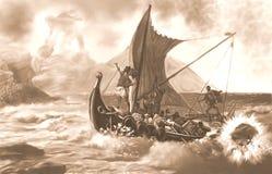 Polifemu atakuje Ulysses i jego załogi Sepiowych ilustracja wektor