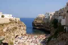 Polignano母马海滩,意大利 免版税库存照片