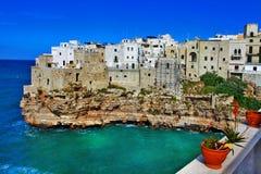 Polignano al mare , town on rock Stock Photo