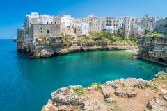 Polignano a Mare, Bari Province, Apulia, southern Italy. Polignano a Mare is a town and comune in the Metropolitan City of Bari, Apulia, southern Italy, located stock images