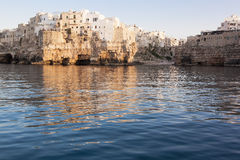 Polignano a Mare Bari from sea view Royalty Free Stock Photos
