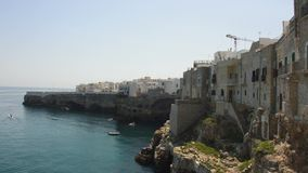 Polignano a mare breathtaking sight, Apulia, Italy. Italian panorama. Cliffs on adriatic sea. stock video