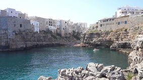 Polignano a mare breathtaking sight, Apulia, Italy. Italian panorama. Cliffs on adriatic sea. stock footage