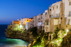 Polignano a Mare at night. Stock Images