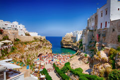 Polignano a Mare summer sea view from the bridge lama monachile Royalty Free Stock Images