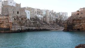 Polignano a mare a town overlooking the sea stock video footage