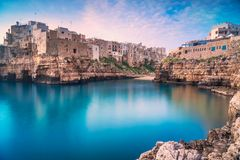 Polignano a Mare village at sunrise, Bari, Apulia, Italy. Stock Photo