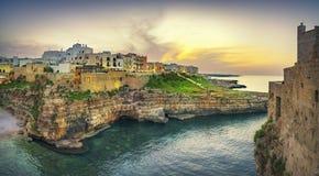 Polignano a Mare village at sunset, Bari, Apulia, Italy stock image