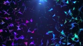 Poligonal neon background. Abstract triangular forms. Geometric VJ footage.