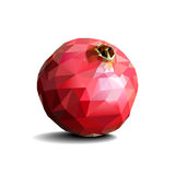Poligonal pomegranate on white background. Poligonal pomegranate on white background with drop shadow Stock Photos
