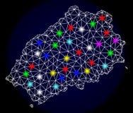 Poligonalna 2D siatki mapa Świątobliwa Helena wyspa z Kolorowymi Lekkimi punktami ilustracji