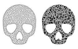 Poligonalna drut ramy siatki czaszka i mozaiki ikona ilustracja wektor