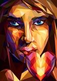 Poligonalna dziewczyna z sercem - ilustracja Obrazy Stock