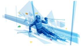Poligonalna ilustracja kobieta slalomu narciarstwo royalty ilustracja
