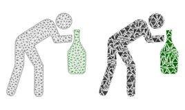 Poligonalna siatka Pijący sieć mężczyzna i mozaiki ikona ilustracja wektor