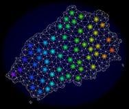Poligonalna sieci siatki mapa Świątobliwa Helena wyspa z Jaskrawymi Lekkimi punktami ilustracji