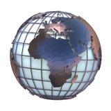 Poligonalna stylowa ilustracja ziemska kula ziemska, Europa i Afryka, przeglądamy 3D ilustracja wektor