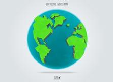 Poligonalna Ziemska planeta Niski poli- projekt również zwrócić corel ilustracji wektora Zdjęcia Stock