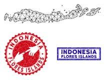 Poligonalne 2D Flores wyspy Indonezja Kartografuj? i Grunge Stempluje ilustracja wektor