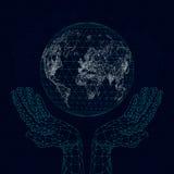 Poligonalne ręki trzymają planety mapę komunikacje ilustracji