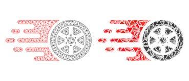 Poligonalnego sieci siatki bolidu Samochodowy koło i mozaiki ikona ilustracji