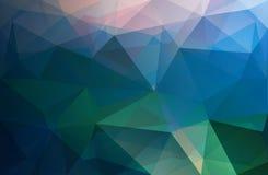 Poligonalnego trójboka wektorowy tło, błękit, róża, zieleń Zdjęcia Royalty Free