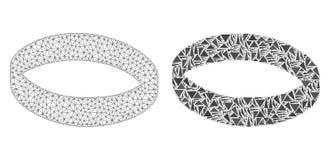 Poligonalnej ścierwo siatki Złocisty pierścionek i mozaiki ikona royalty ilustracja