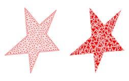 Poligonalnej 2D siatki Asymmetrical gwiazda, mozaiki ikona i royalty ilustracja