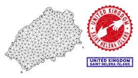 Poligonalnej sieci Helena wyspy Grunge i mapy ?wi?tobliwi znaczki ilustracja wektor