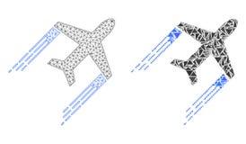 Poligonalnej sieci siatki Samolotowy ślad i mozaiki ikona ilustracji