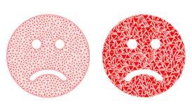 Poligonalnej sieci siatki Smutny Smiley i mozaiki ikona ilustracja wektor