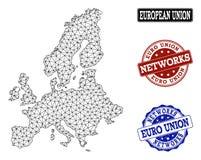Poligonalnej sieci siatki Wektorowa mapa Euro zjednoczenia i sieci Grunge znaczki ilustracji