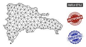 Poligonalnej sieci siatki Wektorowa mapa republiki dominikańskiej i sieci Grunge znaczki royalty ilustracja